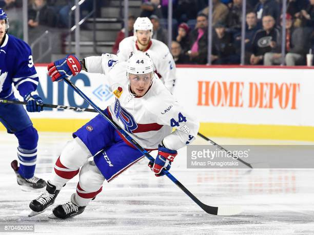Nick Deslauriers of the Laval Rocket skates against the Toronto Marlies during the AHL game at Place Bell on November 1 2017 in Laval Quebec Canada...