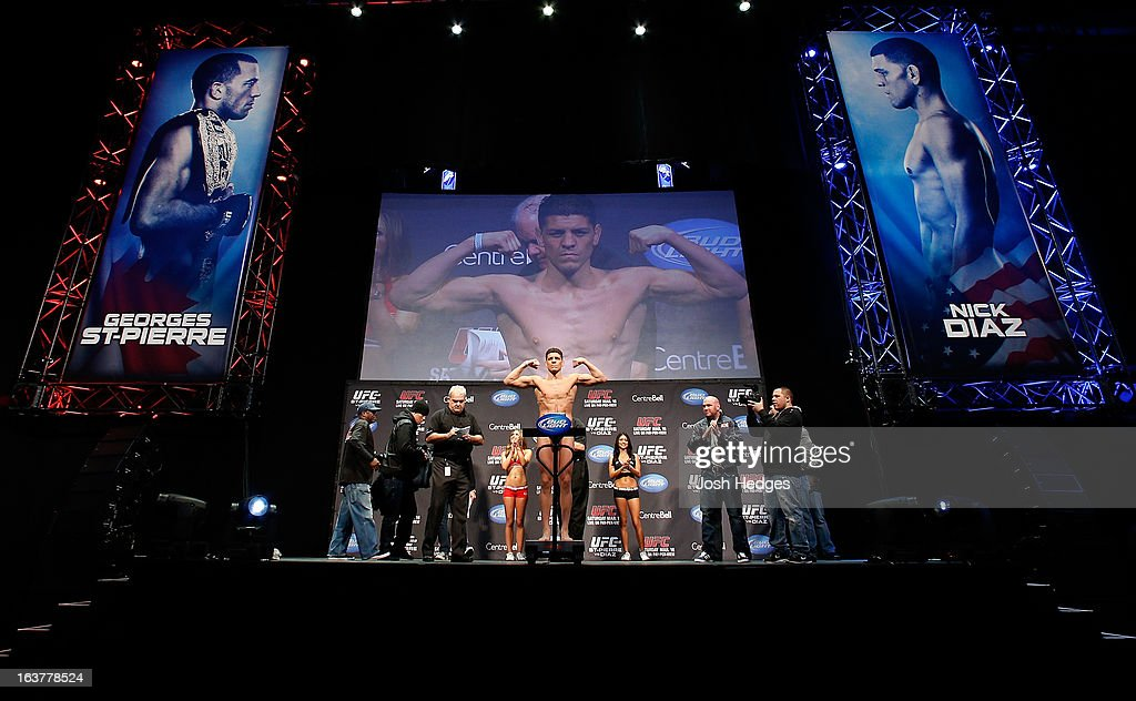 <a gi-track='captionPersonalityLinkClicked' href=/galleries/search?phrase=Nick+Diaz&family=editorial&specificpeople=5350175 ng-click='$event.stopPropagation()'>Nick Diaz</a> weighs in during the UFC 158 weigh-in at Bell Centre on March 15, 2013 in Montreal, Quebec, Canada.