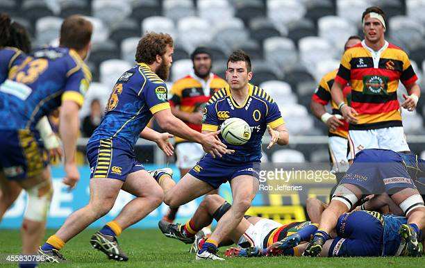 Nick Ealey of Otago passes the ball during the round six ITM Cup match between Otago and Waikato at Forsyth Barr Stadium on September 21 2014 in...