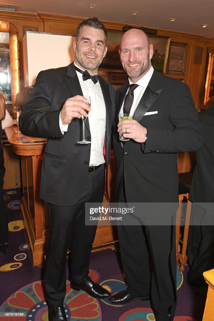 Nick Easter (L) and Lawrence Dallaglio attend the 6 Nations Review dinner supporting the Matt Hampson Foundation and Wooden Spoon children's charity at Annabel's on March 25, 2015 in London, England.