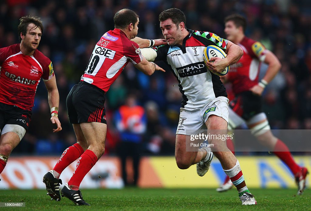 <a gi-track='captionPersonalityLinkClicked' href=/galleries/search?phrase=Nick+Easter&family=editorial&specificpeople=686040 ng-click='$event.stopPropagation()'>Nick Easter</a> of Harlequins is tackled by Ross Gordon of London Welsh during the Aviva Premiership match between London Welsh and Harlequins at Kassam Stadium on January 6, 2013 in Oxford, England.