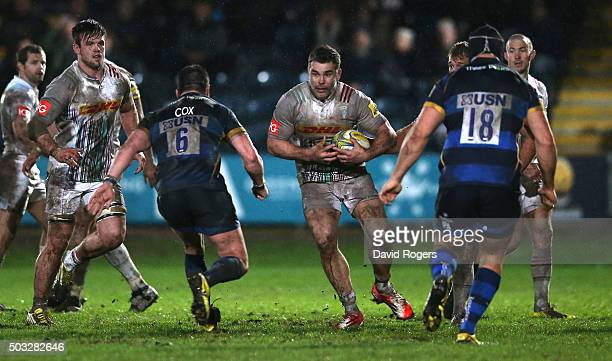 Nick Easter of Harlequins runs with the ball during the Aviva Premiership match between Worcester Warriors and Harlequins at Sixways Stadium on...