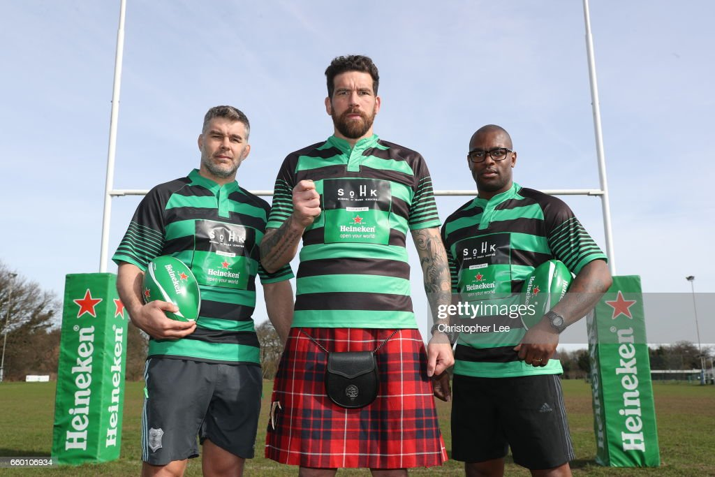 Nick Easter,Jim Hamilton and Ugo Monye pose during the Heineken Presents Take the Hit with School of Hard Knocks at Richmond Park on March 13, 2017 in London, England. Rugby legends Nick Easter, Ugo Monye and Jim Hamilton launch the Heineken challenge, in support of School of Hard Knocks, a charity which works to tackle unemployment through rugby.Former Scotland player Hamilton will toss a coin to decide whether Easter or Monye have to do a bungee jump during the European cup finals. The height of the bungee jump will be determined by the amount of money raised, with funds enabling the charity to open a new facility to run their social inclusion programme in Edinburgh. To donate, visit facebook.com/sohkcharity.