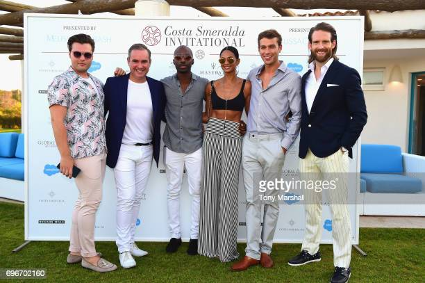 Nick Ede Alesha Dixon and Azuka Onony Josh Parkinson and Craig McGinlaye attend the Welcome Dinner prior to The Costa Smeralda Invitational golf...