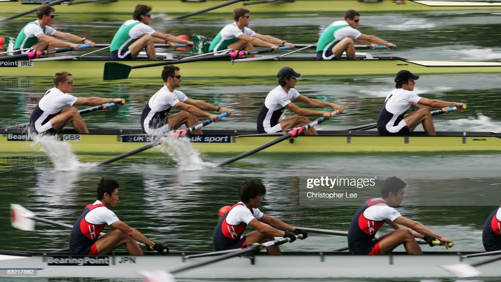 Nick English, Simon Jones, Dave Currie and Mike Hennessy of Great Britain in action during their Lightweight Mens Four semi final during the Bearing Point Rowing World Cup Day 2 on the Rotsee on July 9, 2005 in Lucerne, Switzerland.