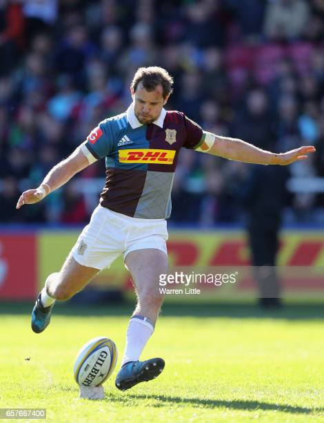 Nick Evans of Harlequins converts a try during the Aviva Premiership match between Harlequins and Newcastle Falcons at Twickenham Stoop on March 25...