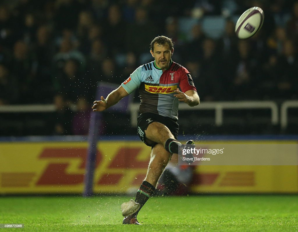 Nick Evans of Harlequins kicks a conversion during the European Rugby Challenge Cup pool 3 match between Harlequins and Montpellier at Twickenham...