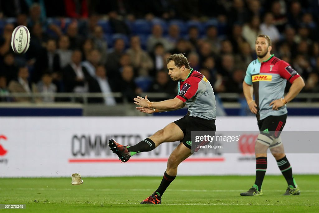 Nick Evans of Harlequins kicks a penalty to open the scoring during the European Rugby Challenge Cup Final match between Harlequins and Montpellier...