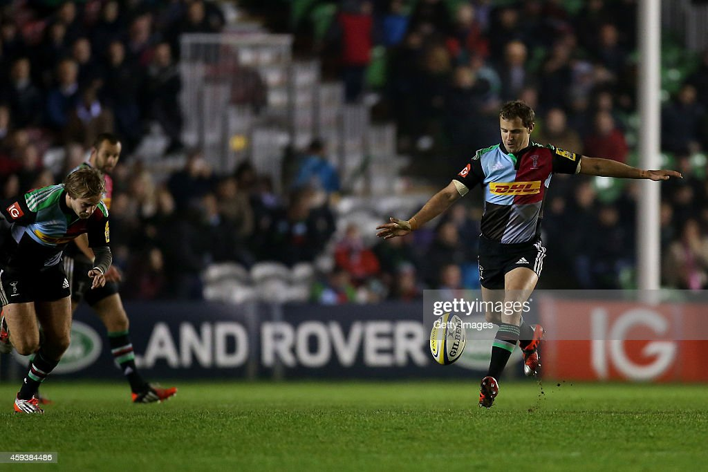 <a gi-track='captionPersonalityLinkClicked' href=/galleries/search?phrase=Nick+Evans+-+Rugby+Player&family=editorial&specificpeople=724634 ng-click='$event.stopPropagation()'>Nick Evans</a> of Harlequins kicks during the Aviva Premiership match between Harlequins and Sale Sharks at Twickenham Stoop on November 21, 2014 in London, England.