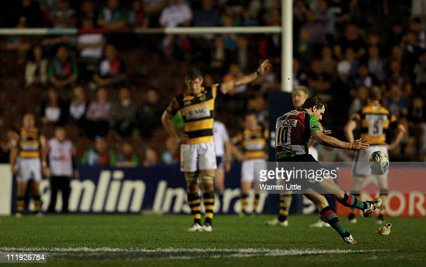 Nick Evans of Harlequins kicks the conversion during the Amlin Challenge Cup quarter final match between Harlequins and London Wasps at The Stoop on...