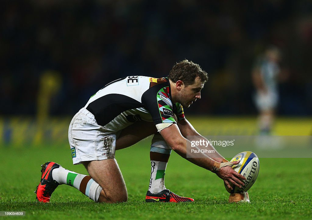<a gi-track='captionPersonalityLinkClicked' href=/galleries/search?phrase=Nick+Evans+-+Rugby+Player&family=editorial&specificpeople=724634 ng-click='$event.stopPropagation()'>Nick Evans</a> of Harlequins lines up a conversion during the Aviva Premiership match between London Welsh and Harlequins at Kassam Stadium on January 6, 2013 in Oxford, England.