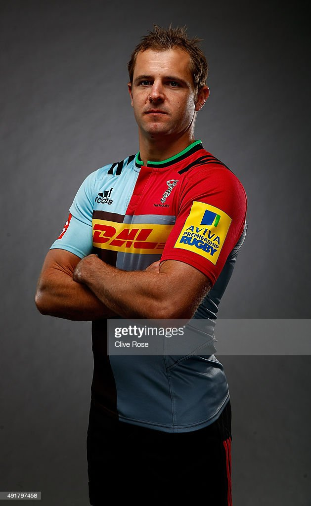 Nick Evans of Harlequins poses for a portrait during the Aviva Premiership Season Launch at Twickenham Stoop on October 8 2015 in London England