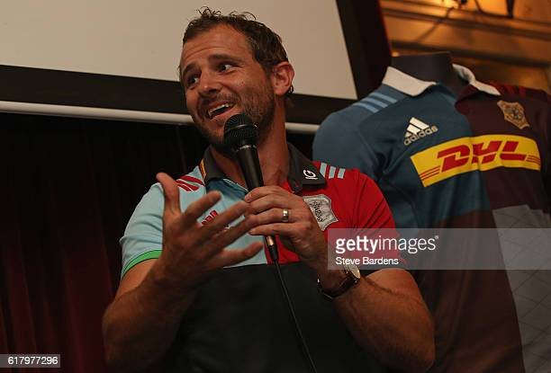 Nick Evans of Harlequins speaks to supporters during An Evening with Nick Evans and Sean Fitzpatrick at the Alexandra Clapham Common on October 25...