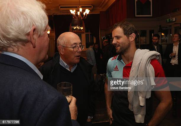 Nick Evans of Harlequins speaks with supporters during An Evening with Nick Evans and Sean Fitzpatrick at the Alexandra Clapham Common on October 25...