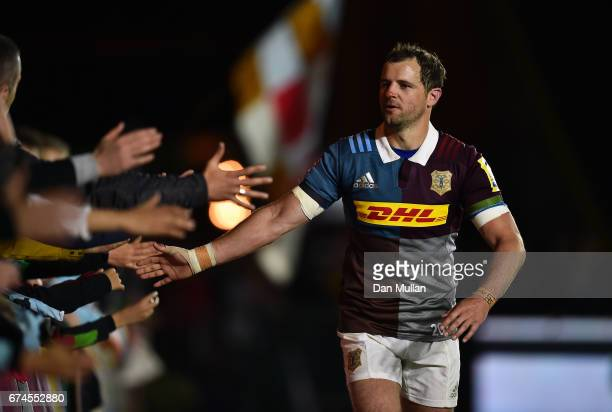 Nick Evans of Harlequins thanks the supporters after his final home game following the Aviva Premiership match between Harlequins and Wasps at...