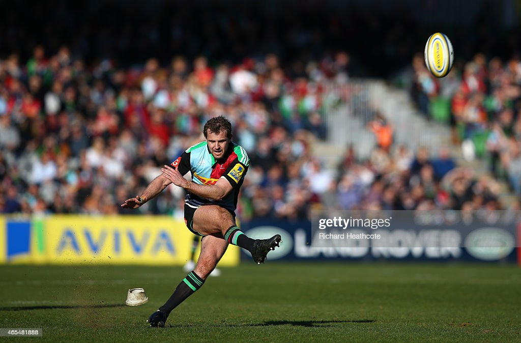 Nick Evans of Quins kicks a penalty during the Aviva Premiership match between Harlequins and London Irish at the Twickenham Stoop on March 7 2015 in...