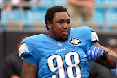 Nick Fairley of the Detroit Lions against the Carolina Panthers during their game at Bank of America Stadium on September 14 2014 in Charlotte North...