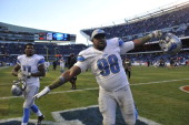 Nick Fairley of the Detroit Lions celebrates after the Lions victory against the Chicago Bears on November 10 2013 at Soldier Field in Chicago...