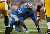 Nick Fairley of the Detroit Lions lines up for the play while playing the Green Bay Packers at Ford Field on September 21 2014 in Detroit Michigan...