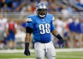 Nick Fairley of the Detroit Lions looks to the sidelines during the second quarter of the game against the New York Giants at Ford Field on December...