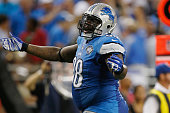 Nick Fairley of the Detroit Lions of the Detroit Lions reacts while playing the New York Giants at Ford Field on September 8 2014 in Detroit Michigan