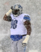 Nick Fairley of the Detroit Lions reacts after a play in the first quarter against the Philadelphia Eagles on December 8 2013 at Lincoln Financial...