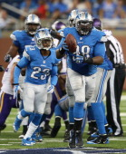 Nick Fairley of the Detroit Lions recovers the fumble by Christian Ponder of the Minnesota Vikings during the fourth quarter of the game at Ford...