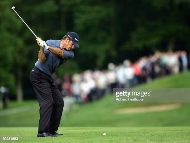 Nick Faldo of England plays a shot during the first round of the BMW Championship 2005 at the Wentworth Club on May 26 Virginia Water England