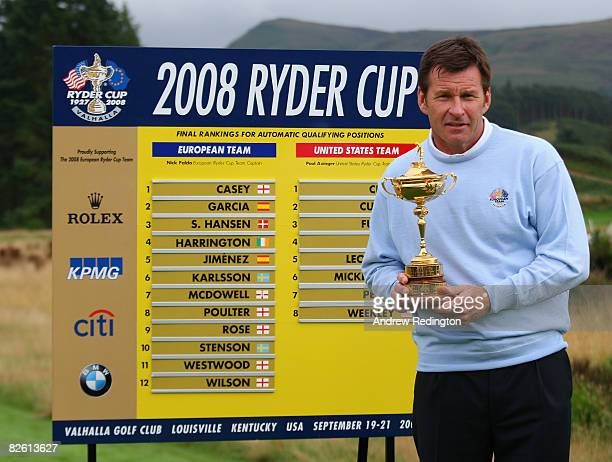 Nick Faldo of England poses with the Ryder Cup trophy after the Ryder Cup Press Conference after the final round of The Johnnie Walker Championship...