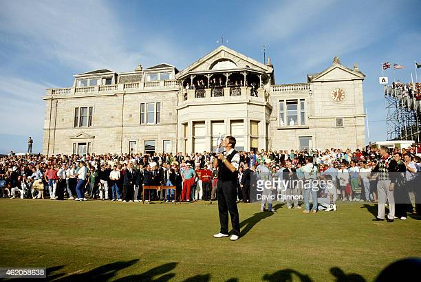 Nick Faldo of England proudly holds the Claret Jug after his win the 119th Open Championship played on the Old Course at St Andrews on July 22 1990...