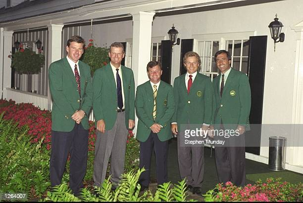 Nick Faldo of England Sandy Lyle of Scotland Ian Woosnam of Wales Bernhard Langer of Germany and Seve Ballesteros of Spain pose for a photograph...