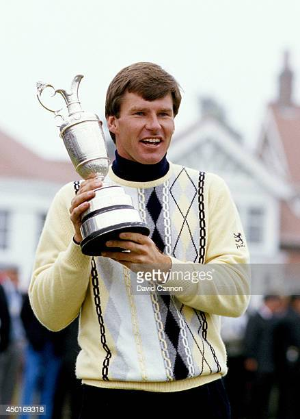 Nick Faldo of England with The Claret Jug the Open Championship trophy after his win by one shot over Paul Azinger and Rodger Davis the 116th Open...