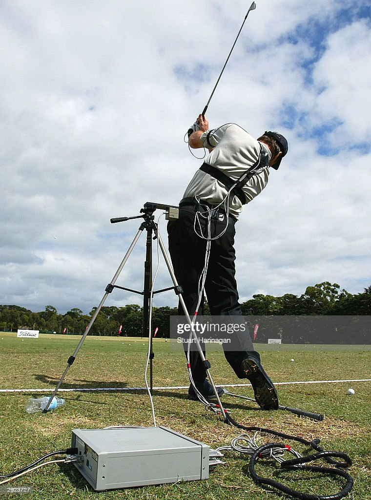 Nick Faldo of Great Britain is wired for bio-mechanical evaluation on the practce fairway prior to the Heineken Classic at Royal Melbourne Golf Club February 3, 2004 in Melbourne, Australia.