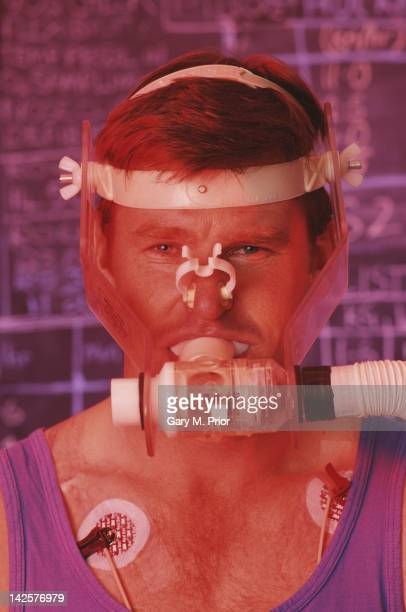 Nick Faldo of Great Britain undergoes respiratory training at the British Olympic Medical Centre on 1st January 1990 in London United Kingdom