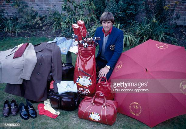 Nick Faldo of the Great Britain Ireland Team showing off his Ryder Cup kit prior to the golf competition held at the Lytham St Annes Golf Club in...