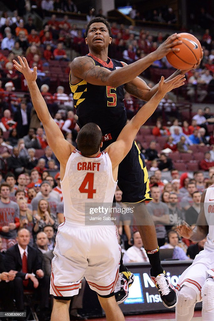 Nick Faust #5 of the Maryland Terrapins commits a player control foul on <a gi-track='captionPersonalityLinkClicked' href=/galleries/search?phrase=Aaron+Craft&family=editorial&specificpeople=7348782 ng-click='$event.stopPropagation()'>Aaron Craft</a> #4 of the Ohio State Buckeyes in the first half on December 4, 2013 at Value City Arena in Columbus, Ohio. Ohio State defeated Maryland 76-60.