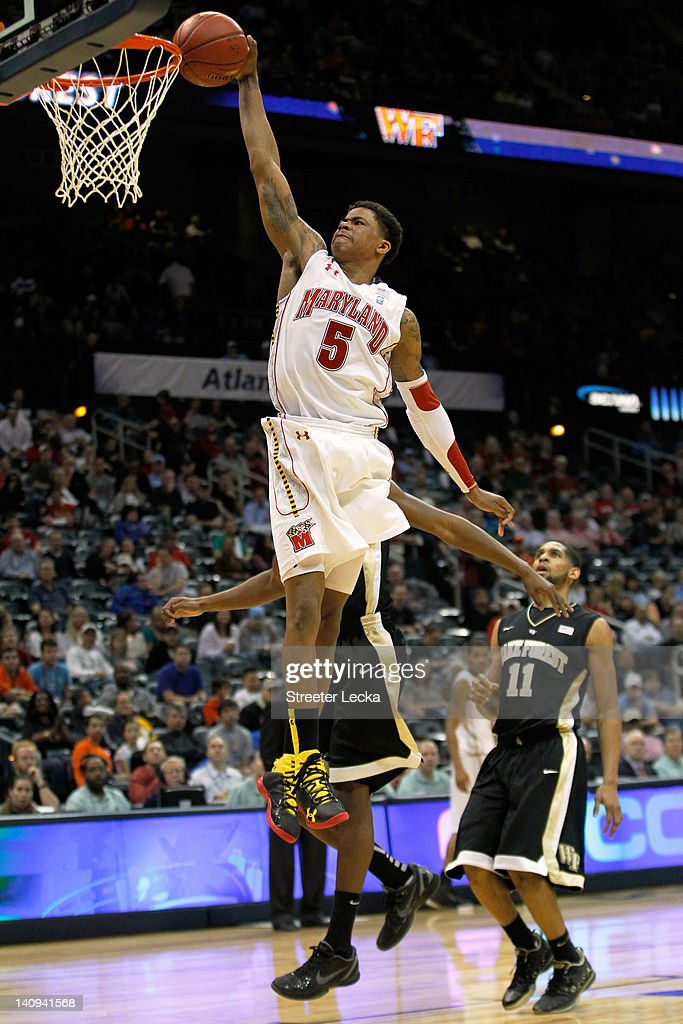 Nick Faust #5 of the Maryland Terrapins dunks in the second half against the Wake Forest Demon Deacons during their first round game of 2012 ACC Men's Basketball Conferene Tournament at Philips Arena on March 8, 2012 in Atlanta, Georgia.