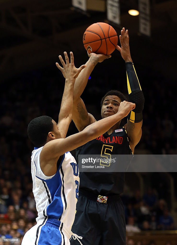 Nick Faust #5 of the Maryland Terrapins shoots over <a gi-track='captionPersonalityLinkClicked' href=/galleries/search?phrase=Quinn+Cook&family=editorial&specificpeople=6753591 ng-click='$event.stopPropagation()'>Quinn Cook</a> #2 of the Duke Blue Devils during their game at Cameron Indoor Stadium on January 26, 2013 in Durham, North Carolina.