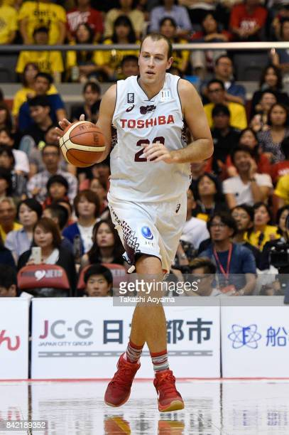 Nick Fazekas of the Kawasaki Brave Thunders dribbles the ball during the BLeague Kanto Early Cup 3rd place match between Kawasaki Brave Thunders and...