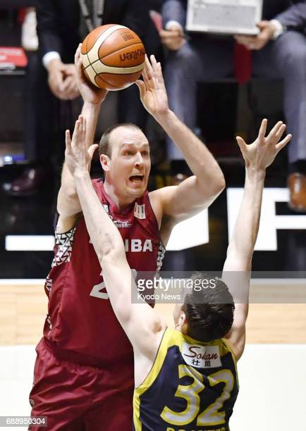 Nick Fazekas shoots during the third quarter of the Kawasaki Brave Thunders' 8579 loss to the Tochigi Brex in the onegame final of the inaugural...