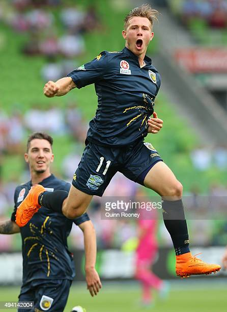 Nick Fitgerald of the Mariners celebrates scoring a goal during the round three ALeague match between Melbourne City FC and the Central Coast...
