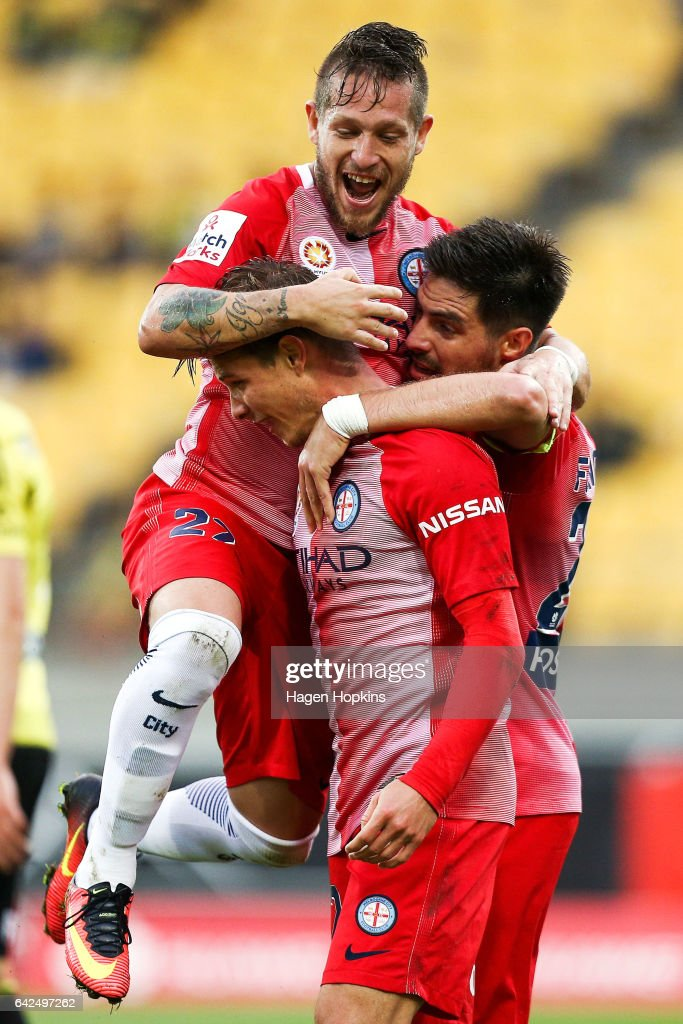 Nick Fitzgerald, Bruno Fornaroli and Fernando Brandan of Melbourne City celebrate an own goal by the Phoenix during the round 20 A-League match between the Wellington Phoenix and Melbourne City at Westpac Stadium on February 18, 2017 in Wellington, New Zealand.