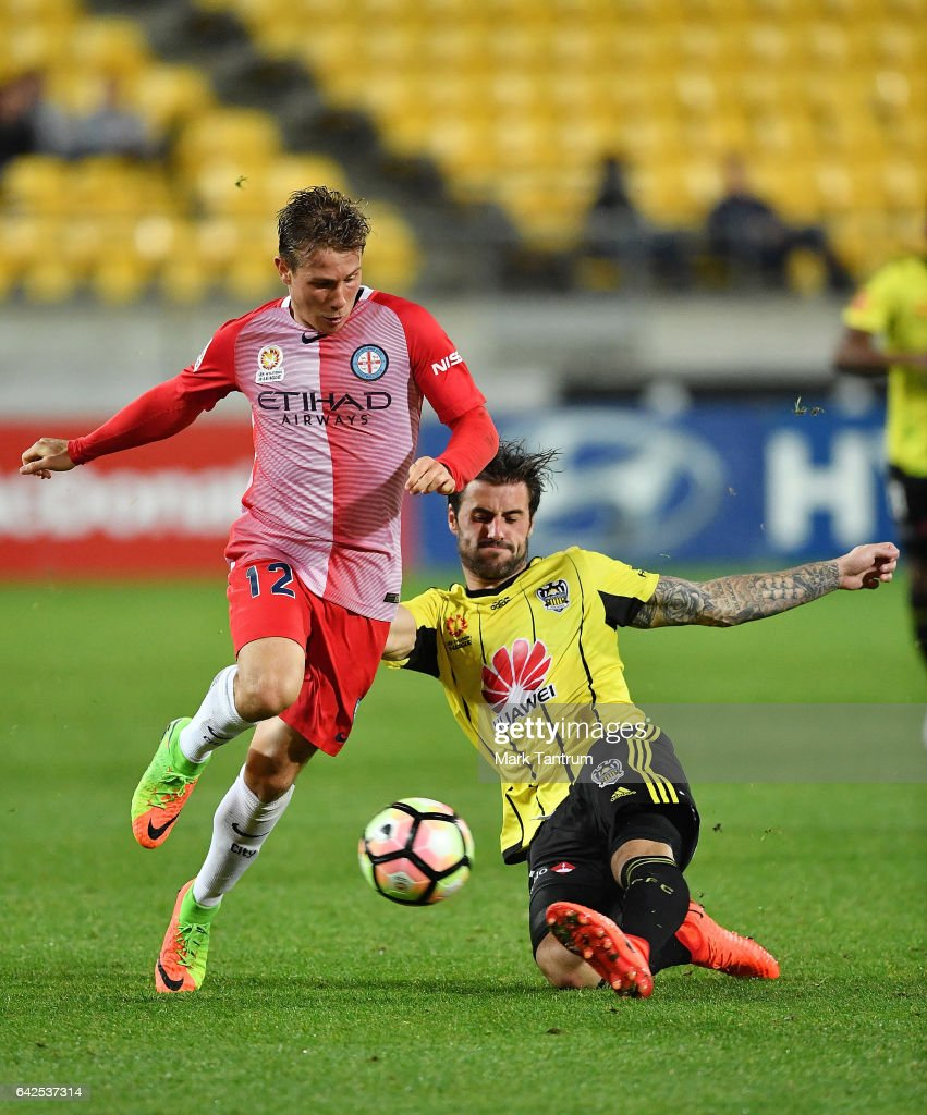 Nick Fitzgerald of Melbourne City and Tom Doyle of the Wellington Phoenix during the round 20 A-League match between the Wellington and Melbourne City at Westpac Stadium on February 18, 2017 in Wellington, New Zealand.