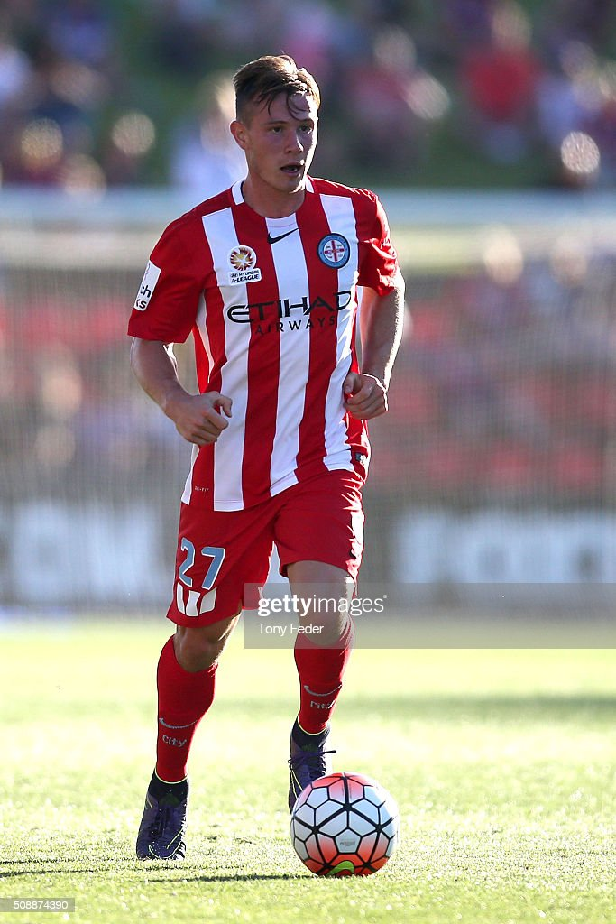 Nick Fitzgerald of Melbourne City controls the ball during the round 18 A-League match between the Newcastle Jets and Melbourne City FC at Hunter Stadium on February 7, 2016 in Newcastle, Australia.