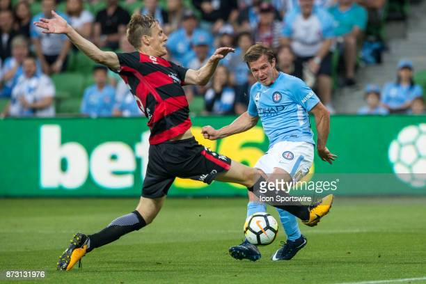 Nick Fitzgerald of Melbourne City has a shot at goal while Michael Thwaite of the Western Sydney Wanderers attempts to deflect during Round 6 of the...
