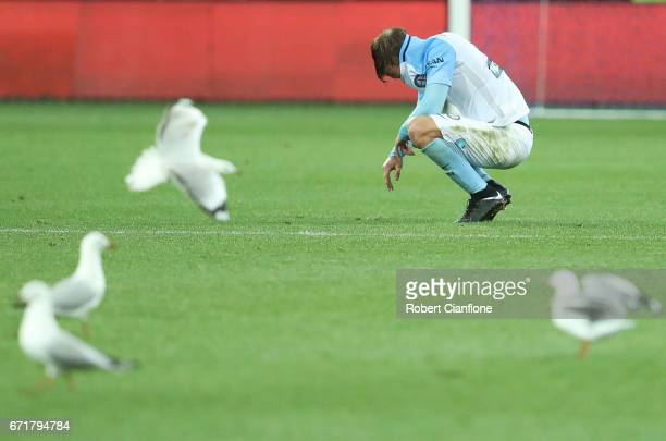 Nick Fitzgerald of Melbourne City is dejected after the City were defeated by Oerth Glory during the ALeague Elimination Final match between...