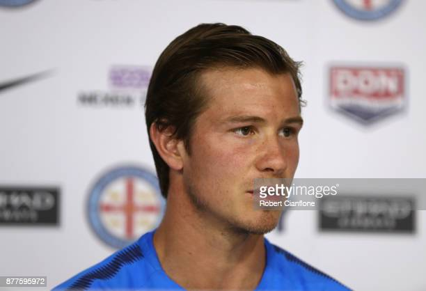 Nick Fitzgerald of the City speaks to the media during a Melbourne City ALeague press conference at City Football Academy on November 23 2017 in...