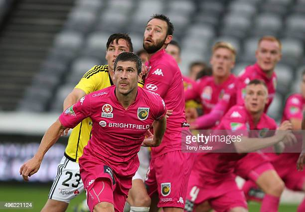 Nick Fitzgerald of the Mariners prepares for a corner kick during the round five ALeague match between the Central Coast Mariners and the Wellington...