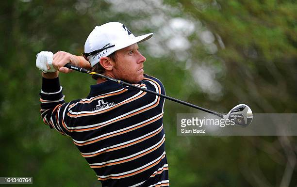 Nick Flanagan of Australia hits a drive on the 15th hole during the second round of the Chitimacha Louisiana Open at Le Triomphe Country Club on...