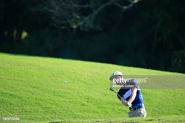 Nick Flanagan of Australia hits a shot from the rough during the second round of the Webcom Tour Championship held on the Dye's Valley Course at TPC...